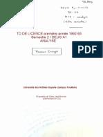 TD LICENCE première année 1992-93 en ANALYSE