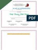 Dvbs Summer Certificate