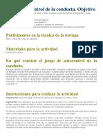 Juego Autocontrol de La Conducta Tecnica de La Tortuga