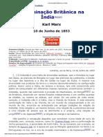 A Dominação Britânica Na India - Marx