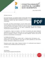 Carta - Enseña Peru a Jose Luis Arista Tejada