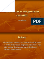 As Camaras No Governo Colonial