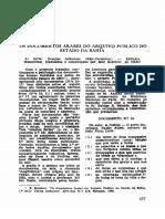 Os Documentos Arabes Do Arquivo Do Estado Da Bahia, 2 Série