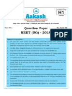 NEET Question Paper H1 by Aakash