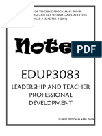 EDUP3083 Leadership And Teacher Professional Development COMPLETE BRIEF SHORT NOTES