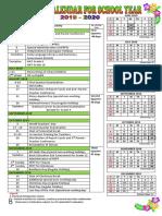 School Calendar 2019-2020