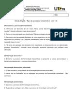 Estudo Dirigido - Tipos de Processos Fermentativos