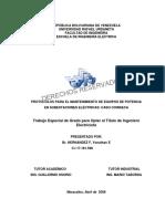 Protocolos Para El Mantenimiento de Equipos de Potencia en Subestaciones Eléctricas. Caso COINSECA - Yonathan E. Hernández F.