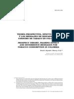 TEORÍA PROSPECTIVA, EFECTO MARCO Y LOS MENSAJES DE DISUASIÓN DE CONSUMO DE TABACO EN COLOMBIA
