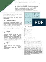 Informe fisica 3, movimiento de proyectiles