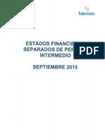 Estados Financieros Separados 3q18