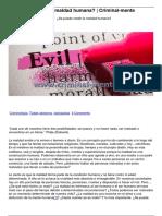 ¿Se Puede Medir La Maldad Humana Criminal-mente