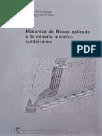 Mecánica de Rocas Aplicada a La Mineria Metalica Subterránea