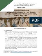 Convocatoria II Congreso Internacional Magia y Religión en Los Andes