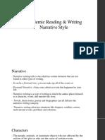 Narrative style writing