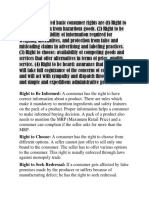 Generally Accepted Basic Consumer Rights Are