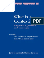 What is a Context - Linguistic Approaches and Challenges