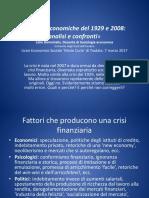 Le Crisi Economiche Del 1929 e Del 2008 a Confronto