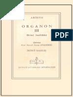 Aristoteles - Organon 3 Birinci Analitikler