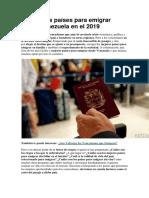 Países Para Emigrar Desde Venezuela en El 2019