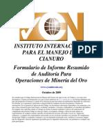Formulario de Informe Resumido de Auditoria Para Operaciones de Mineria Del Oro