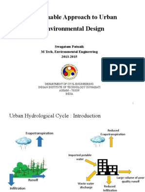 Sustainable Approach To Urban Environmental Design Swagatam Patnaik M Tech Environmental Engineering 2013 2015 Surface Runoff Drinking Water