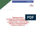 """Reglamento Interno Para Los Trabajadores de La Planta Experimental y de Producción de La Línea Nutrivida """"El Gigante Chávez"""" FINAL"""