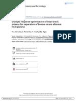 Multiple Response Optimization of Heat Shock Process for Separation of Bovine Serum Albumin From Plasma