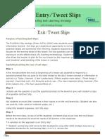 Exit-Entry Slip - Comprehension Strategy Handout Copy 2 0
