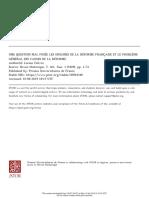 Febvre 1929, Une Question Mal Posée Les Origins de La Réforme Française Et La Problème Général Des..