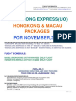 Hongkong and Macau Packages for the month of NOVEMBER 2010