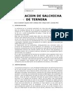 Informe de Productos Cárnicos II Salchicha de Ternera