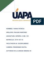 Actividad de La Unidad Semana VII - Español II YANNA PAULINO