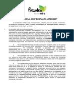 Presotea Confidentiality Agreement