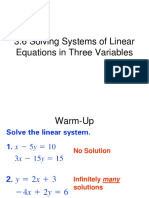 3.6 Solving Systems of Linear Equations in Three Variables