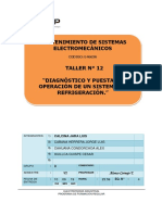 T-12 Diagnóstico y Puesta en Operación de Un Sistema de Refrigeración.