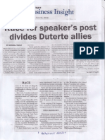 Malaya, June 11, 2019, Race for speaker's post divides Dutert allies.pdf
