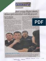 Manila Standard, June 11, 2019, Lightning alert snags flight skeds, draws presidential visit at airport.pdf