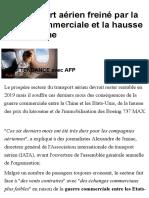 Le Transport Aérien Freiné Par La Guerre Commerciale Et La Hausse Du Kérosène