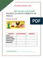 Departamento Infantil 2019 Campanha Picolé