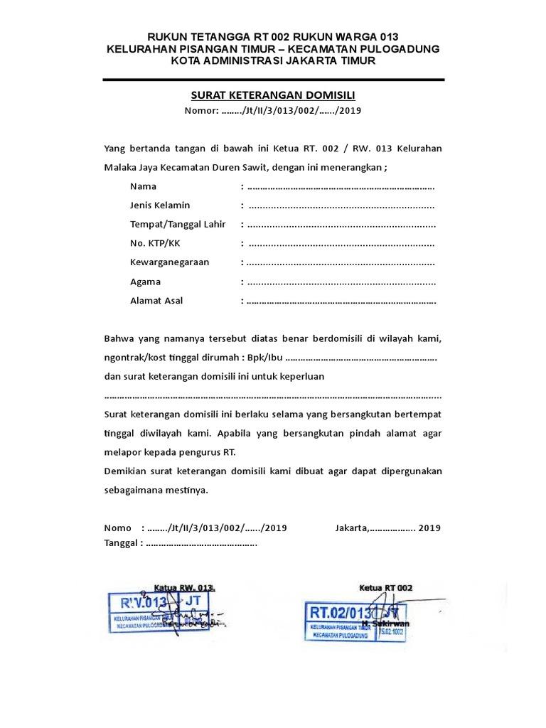 Surat Keterangan Domisili Jakarta Timur