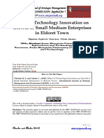 Effect of Technology Innovation on Growth of Small Medium Enterprises in Eldoret Town