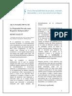 0002 Hazlit - La Propiedad Privada Como Requisito Indispensable