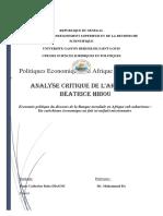 Analyse Critque de l'Article de Béatrice HIBOU[886]