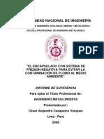 Informe de Suficiencia - El Encapsulado Con Sistema de Presión Negativa Para Evitar La Contaminación de Plomo Al Medio Ambiente - Lima 2009 - César Alejandro Casapaico Vásquez