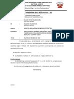 AMPLIACION DE PRESUPUESTO N° 01 - CHAQUELLA
