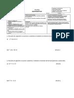 evaluacion ecuaciones  2 °  grado matematica 3° medio