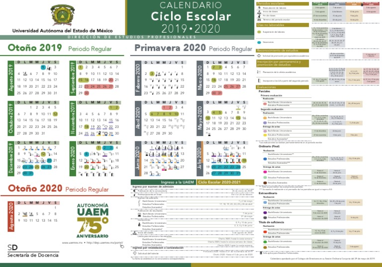 Calendario Escolar 20202020.Calendario Escolar Uaemex 2019 2020 Calendario Crecimiento Personal