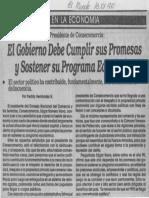 Edgard Romero Nava - El Gobierno Debe Cumplir Sus Promesas y Sostener Su Programa Economico El Mundo 13.01.1990