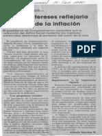 Edgard Romero Nava - Baja de Intereses Reflejaria Descenso de La Inflación - El Universal 15.09.1990